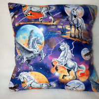 Decorative Pillow Cover, Mythical Pillow Cover, 18 x 18 Pillow Cover, Unicorn Pillow Cover, Unicorn with Wings, Unicorn and Full Moon, Eagle