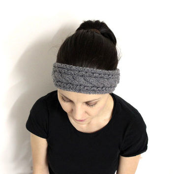Light Gray Headband, Warm Hair Band, Gray Wool Ear Warmer,Wool Head Accessory,Gray Winter Headband,Cable Knit Head Band,Merino Wool Headband