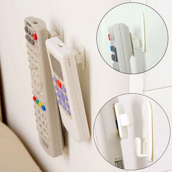 New 2Set(4Pcs) Self Adhesive Plastic Hooks Holder Remote Control Sticky Hook Hanger TV Air Conditioner Key Wall Storage