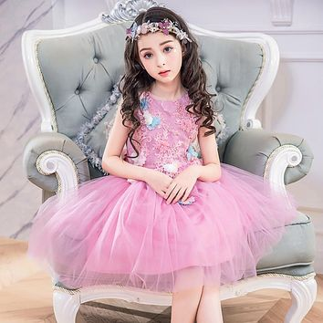 Elegant Girls Dresses New Fashion Kids Princess Floral Wedding Birthday Party Dress For Girl
