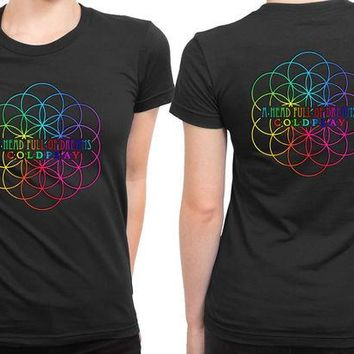 VONEED6 Coldplay A Head Full Of Dreams Logo With Center Title 2 Sided Womens T Shirt
