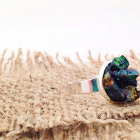 Peacock Ore Adjustable Ring by YouNaturally on Etsy