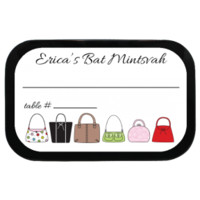 Purses Personalized Bat Mitzvah Placecard Mint Tins for birthdays, parties, bat mitzvahs or other events with candy favors!