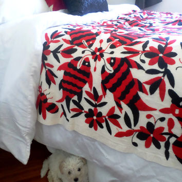 Unique Mexican Suzani Bed cloth HAND EMBROIDERED by indigenous women from Mexico Color #Red and Black #Tenango #Otomi fabric 2.18X 2.18 yds