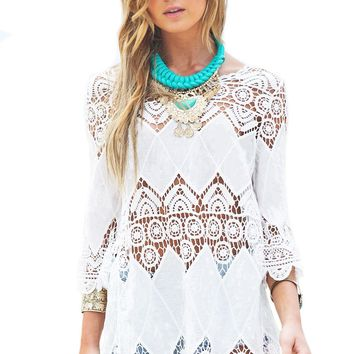 Bohemian Crochet Beach Tunic