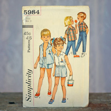 Vintage Child's Sewing Pattern Shirt & Pants Simplicity 5984 1960's Girls or Boys with Yacht/Boat Embroidery Transfer Cute Beach Style
