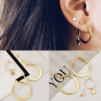 2018 New Arrival Hot Sale 4PCS/Set High Quality Unique Star Circle Golden Girls Round Women Earring Free Shipping Allergy Free
