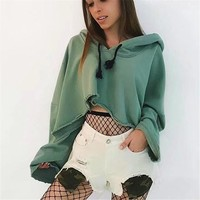 Women Casual Solid Color Pagoda Sleeve Loose Long Sleeve Hooded Sweater Crop Tops