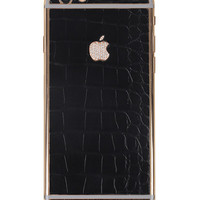 Hadoro Iphone 6s Alligator Black Gold Diamond