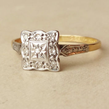 Scalloped Square Art Deco Diamond Engagement Ring, Diamond Platinum and 18k Gold Wedding Ring Approximate Size US 9