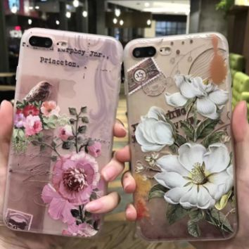 Flowers phone case cover for iphone 6s plus Coloured drawing or pattern embossed for iphone -0410