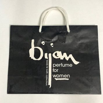 Vintage BIJAN Designer Shopping Bag /  Black & White Paper Merchandise Bag / 80s 90s Collectible Department Store Bags / BIJAN Perfume Bag