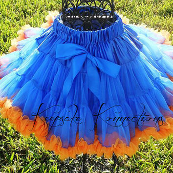 Gators Pettiskirt - Tutu - Petticoat - baby tutu- Skirt - Kids - Pettiskirt -pettiSkirt - Photo Prop -Baby pettiskirt - blue and orange