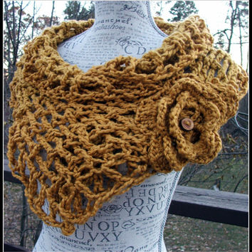 Crochet Cowl. Flower. Scarf. Infinity cowl. Lattice cowl. Made by Bead Gs on Etsy. Yellow cowl. Mustard Cowl. Infinity scarf.
