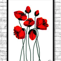 Red Poppies Watercolor Print, Wall Art Poster, Kitchen wall decor, Wall Hanging, Giclee art, Mother's day gift, Birthday poster, Red Flowers