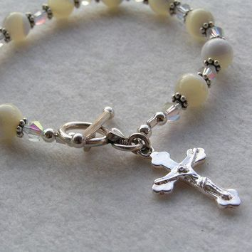 Catholic Rosary Bracelet in Mother of Pearl and by BeadsOfHeaven