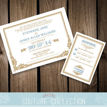 DECO INVITATION art deco wedding Chrysler set - Custom Color Vintage Gatsby Train Station Printable DIY Digital File Wedding Invitation