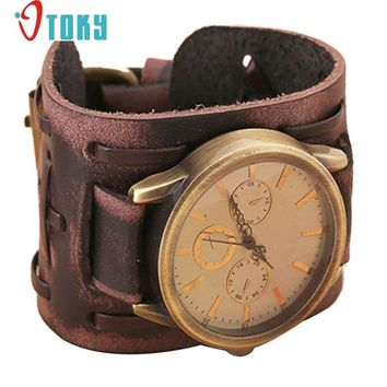 Retro Punk Rock Brown Big Wide PU Leather Bracelet watches for Men
