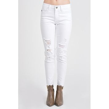 KanCan White Distressed Ankle Skinny Jean