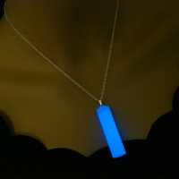 Long Glow In The Dark Necklace - Glowing Cylinder Pendant - Men's Necklace - Glo