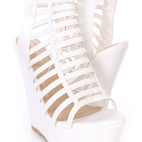 White Strappy Peep Toe Platform Wedges Faux Leather