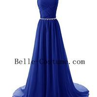 Royal Blue Long Prom Dress 2016, Elegant Royal Blue Evening Dress, Blue Bridesmaid Dresses