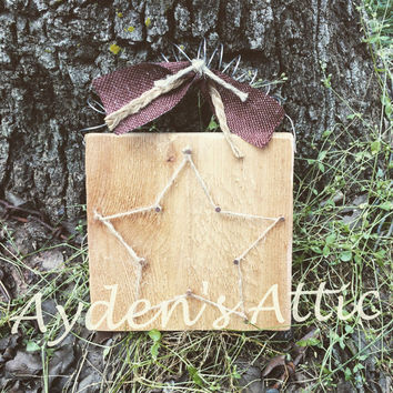 Rustic star wall hanging. Cedar sign. Rustic home decor. Country decor. String art. Twine and cedar. Country housewarming gift. Wedding gift
