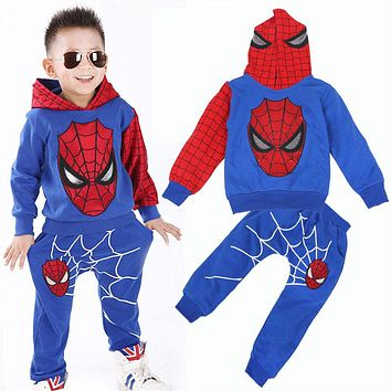 Spring  autumn Spider-Man Sports suit 2 pieces