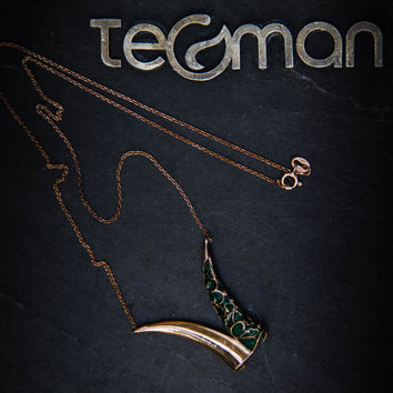 Sufistic plique a jour enameled green, silver, rose goldfilled necklace