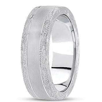 14K Gold Mens Engraved Wedding Band (7mm)