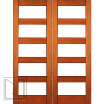 Contemporary Exterior Double Door, Mahogany, Clear Low-E Glass