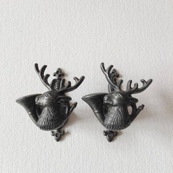 Set of 2, french, deer, coat hook, hunting, hunting gift, deer hunting, home decor, hunting decor, french vintage, coat rack, wall decor
