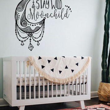 "Stay Wild Moonchild Moon Child 14.4"" x 12"" Boho Bohemian Wall Decal Sticker"