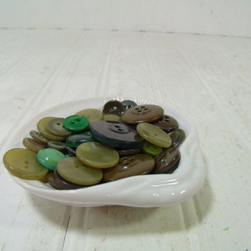 Vintage Variety of Shades of Green Buttons Collection - 58 Old Used Green Buttons Repurposing Upscaling Upcycling Crafts Seamstress Projects
