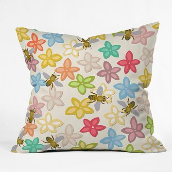 Sharon Turner Indian Summer flowers and bees Throw Pillow