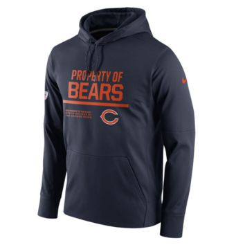 Men's Chicago Bears Nike Navy Circuit Property Of Performance Pullover Hoodie