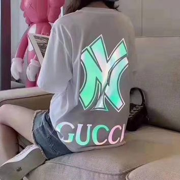 """Gucci""Woman's Leisure  Fashion Laser Letter Printing Loose Short Sleeve  Tops"