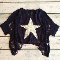 Navy Blue White Starfish Nautical Sweater Ripped Torn Fashion Starfish Belly Top