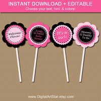Printable Baby Shower Cupcake Toppers - EDITABLE Pink Black Cupcake Picks - Pink Tags Baby Shower Party Decorations - Bridal Toppers INSTANT