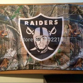 Oakland Raiders real tree BANNER Camo Large Outdoor Flag 3ft x 5ft Football Hockey USA Flag