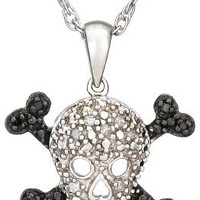 Sterling Silver Black and White Diamond Accent Skull Pendant Necklace