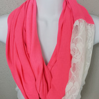 Hot Pink with White Lace Infinity Scarf Trendy Fashion Circle Scarf Pink Eternity Loop Pink Scarf Lace Scarf Spring Scarf Color Block Scarf