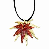 24k Gold/Iridescent Copper Dipped Japanese Maple Leaf Necklace