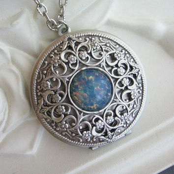 Filigree LOCKET, Silver Locket,Blue Fire Opal Locket, Antique Locket,Silver Filigree Locket,Blue Opal Jewelry, Mother's Day Gifts, Lockets x