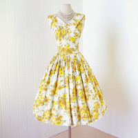 vintage 1950's dress ...wardrobe staple THE JONES GIRL cotton abstract floral pleated bodice full skirt pin-up dress