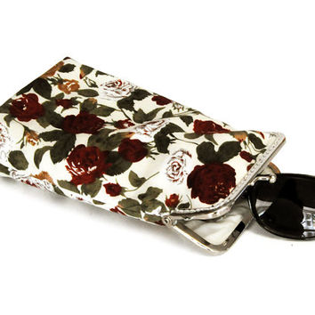 Sunglasses Case  - Beige with lovely Bordeaux and Mustard flowers - 100% cotton  - Silver Frame
