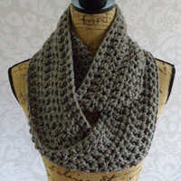 Infinity Scarf Dark Medium Gray Grey Fall Special Crochet Knit