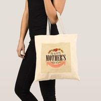 Modern Floral Happy Mother`s Day Tote Bag