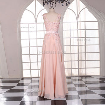 Pink Long Chiffon Prom Dresses  Lace Applique Party Dress Fashion Women Dress Long Bridesmaid Dress Prom Dress