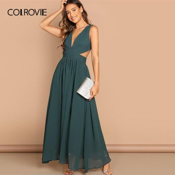 Green V-Neck Crisscross Waist Prom Wrap Party Maxi Dress